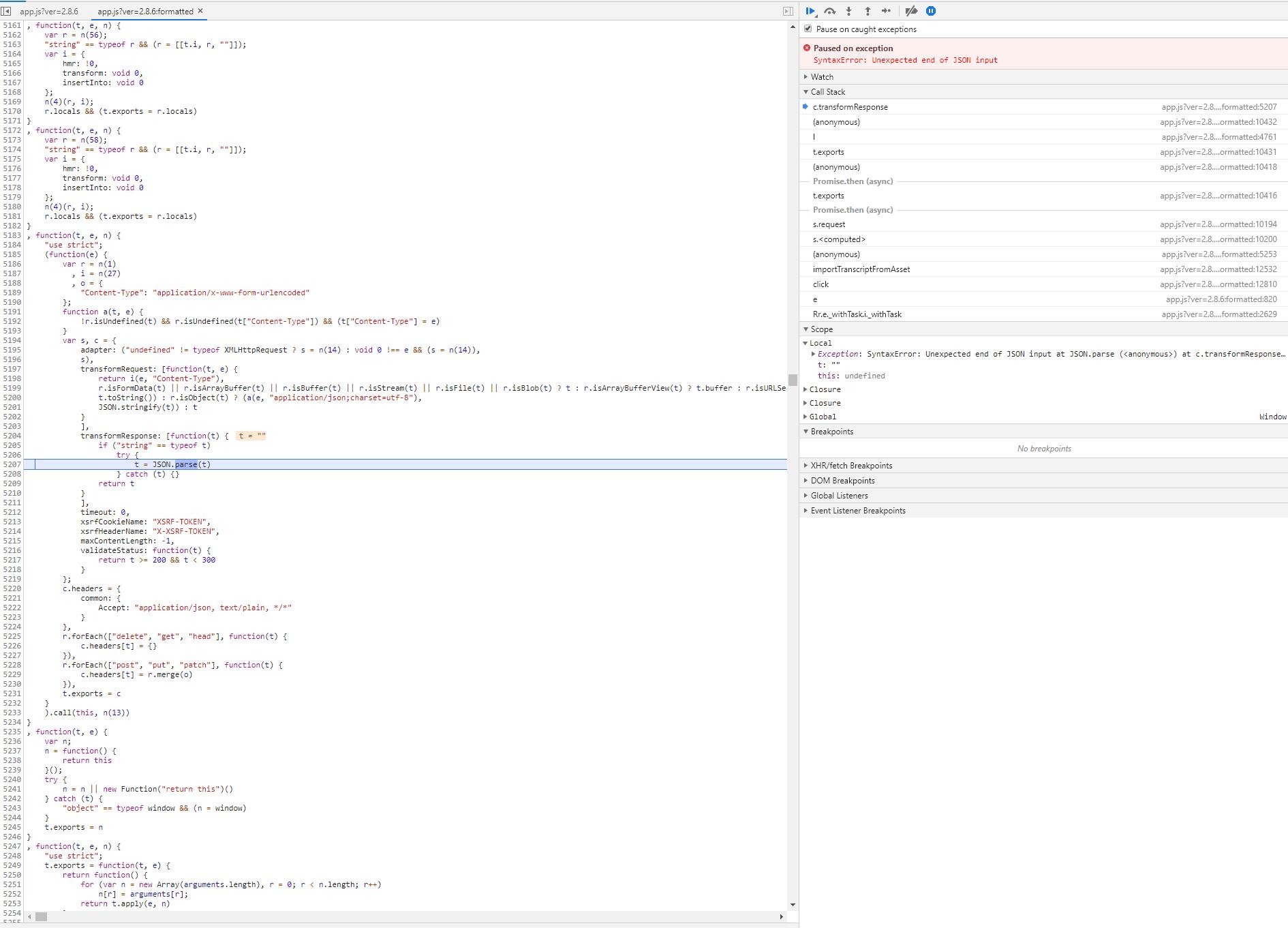 Javascript Exception