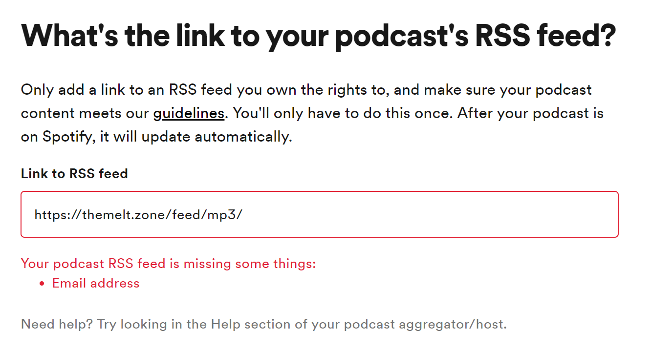 SOLVED] Spotify requires email address in feed? - Podlove